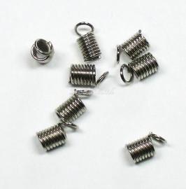 BVK10   10 Spiraalklemmetjes 10x5mm Antiek zilver