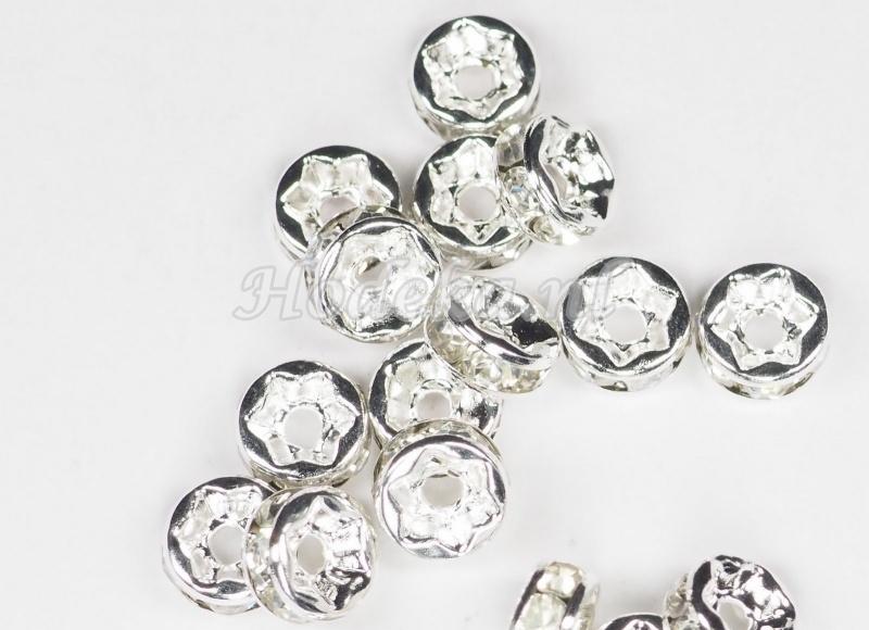 MTS12  5 x Metalen kraal  met strass Transparante 6 x 3 mm