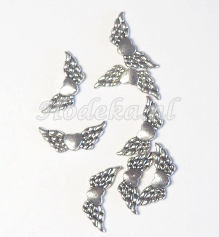 MTV07  4 x metalen Vleugel Antiek Zilver 22 x 10 mm