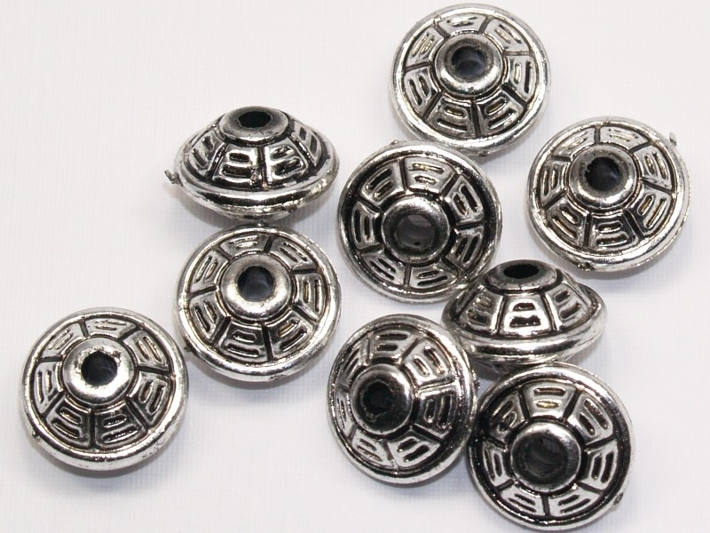 MLK27   8 x metalook rondel bewerkt 10 x 16mm