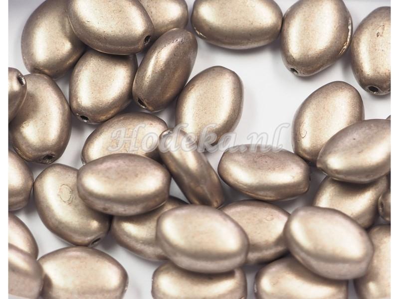 CZO02a   50 x Tsjechische Glaskraal Ovaal 9 x 7mm Brons