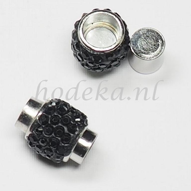 BMS16a   3 x Magneetsluiting Buisje met  Zwarte strass