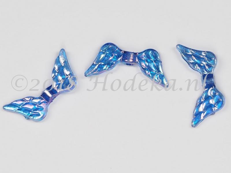 MTV32  8 x acryl Vleugel Transparant Donker Blauw AB 20 x 9 mm