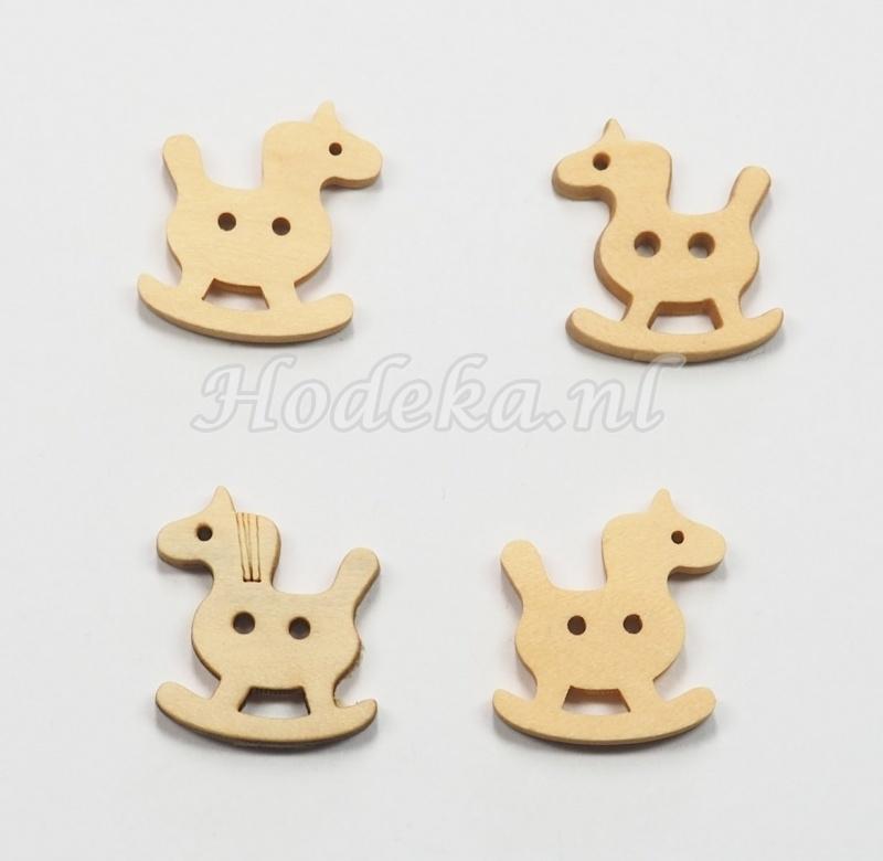 KNO143  1 x Houten knoop  Hobbel Paard ca. 17 x 17 mm