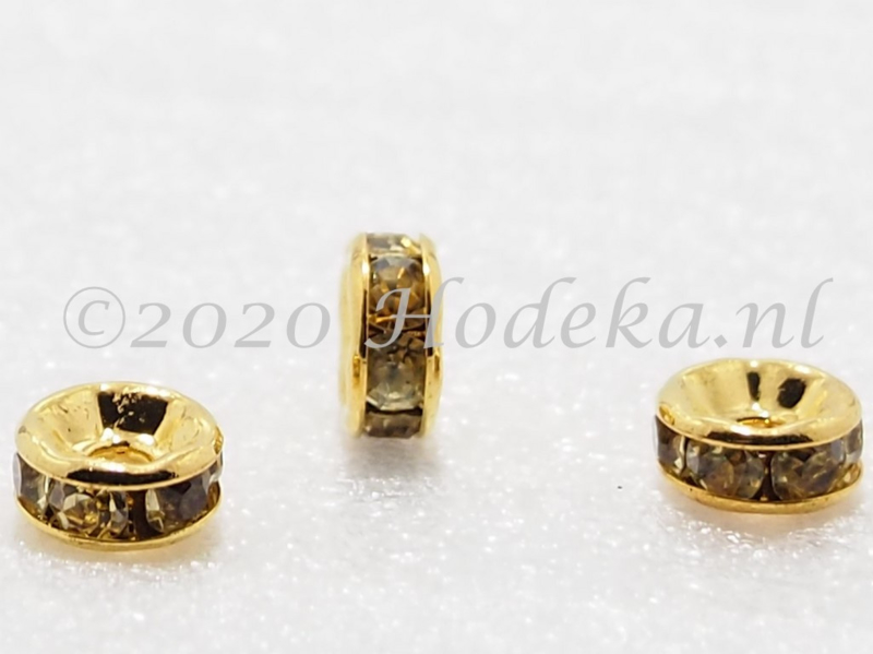 MTS34  5 x Goud kleurige metalen kraal met strass Licht Geel 6 x 3 mm
