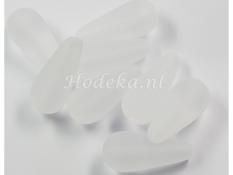 CZD02a  25 x Tsjechische Glaskraal Druppel 20 x 9mm Wit mat