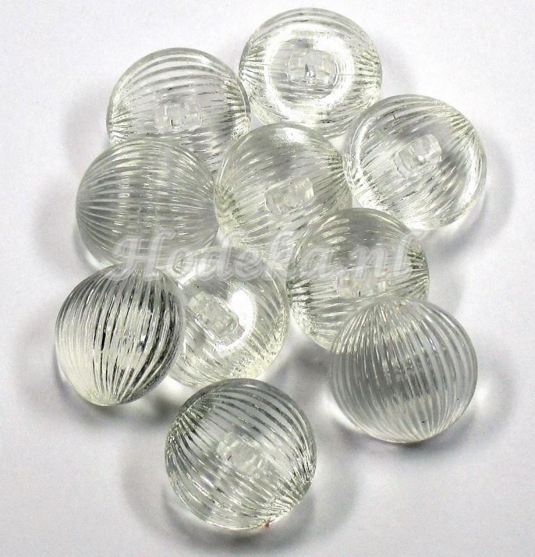 KNO81  1 x Transparante bolle knoop met oog ca. 23 mm