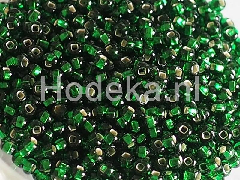 Opruiming van de CRP09/01a  50 gram Preciosa Rocailles 9/0 Groen silverlined