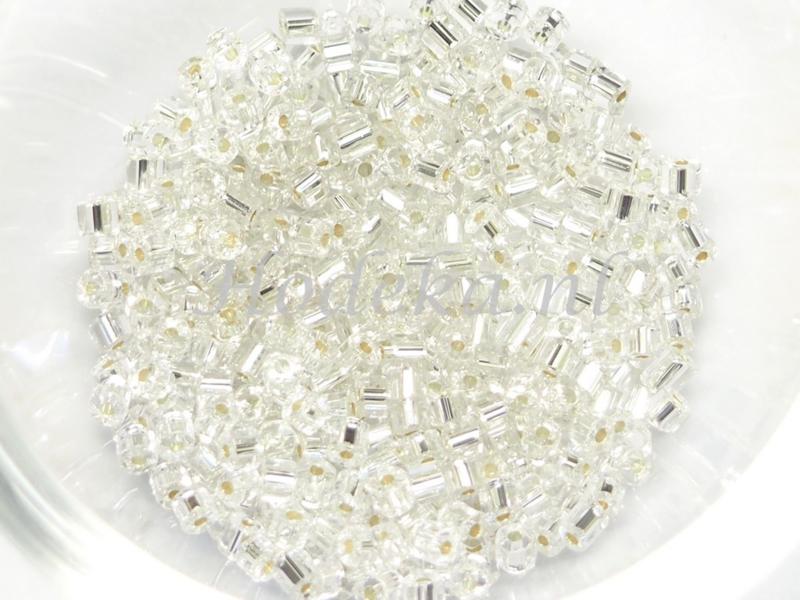Opruiming van de CZT04a   Rocailles staafje 50 gr. Transparant Zilveren kern ca. 2 mm