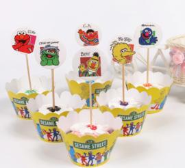 Cupcakewikkel + prikker Sesamstraat (2525)
