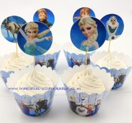 cupcake wikkel + prikker Frozen (2525)