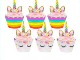 cupcake wikkel eenhoorn/unicorn met steker (2515)