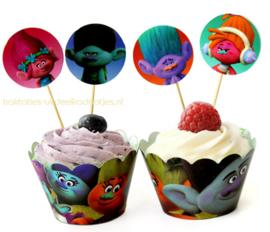 Cupcake  wikkel + prikker Trolls (3620)