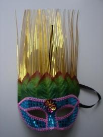 """Carnaval masker met lange """"haren"""" (17120)"""
