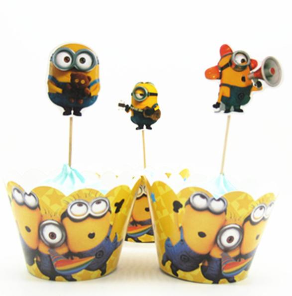 Cupcakewikkel + prikker Minions geel (3620)