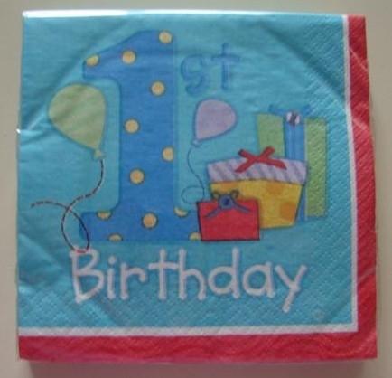 1e verjaardag servetten jongens