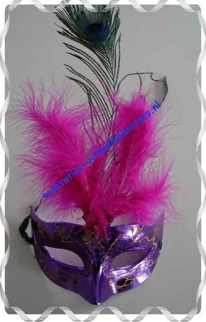 Carnaval masker met pauwenveer