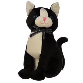 Zwarte Kat Fluwelen Lint Deurstopper
