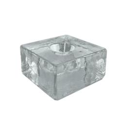 Kandelaar Vierkant Glas Helder - dinerkaars Scentchips®