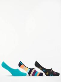3-pack liner socks - Palm, gestreept - maat 41-46