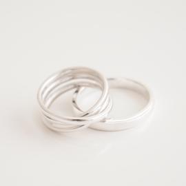 ovale wikkel trouwring set