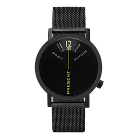 projects watches past, present & future horloge mesh zwart