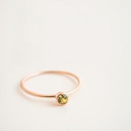 rose gold peridot stacker ring