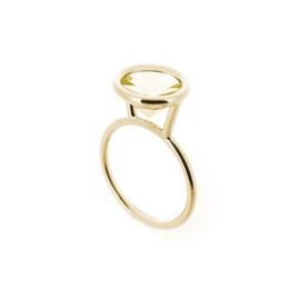 """""""upside down rond"""" ring met citrien"""