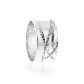 gewikkelde lijnen bandring zilver