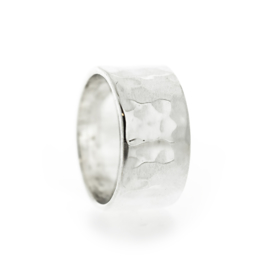 chiseled wide silver ring