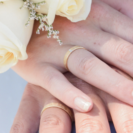 frosted gold wedding bands