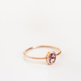 rosé gouden ovaal toermalijn stacker ring