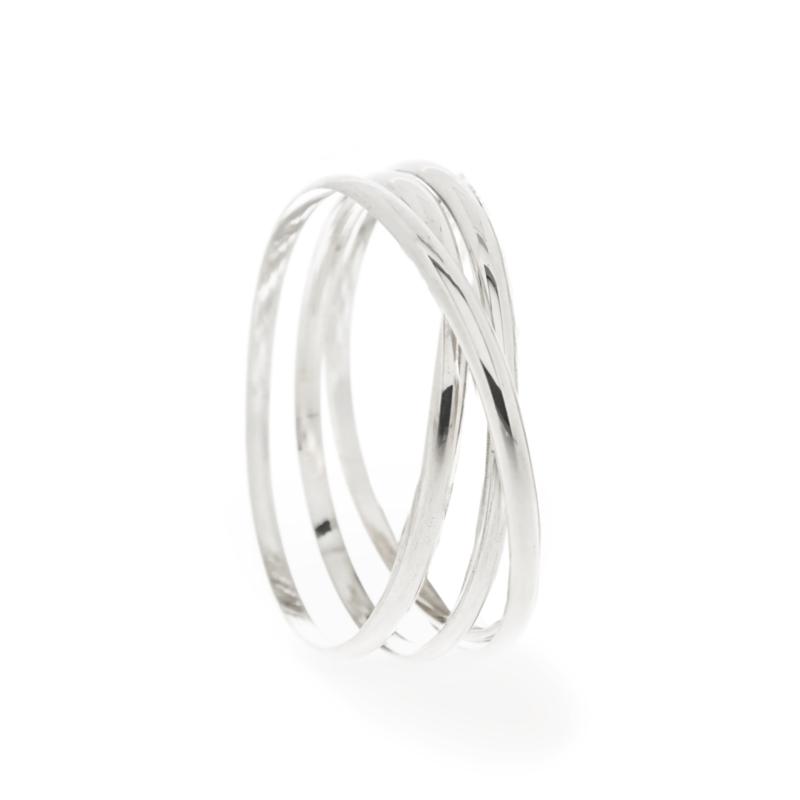 wikkelarmband breed 3 wikkel zilver
