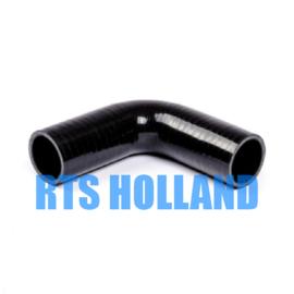 Siliconen bocht 90º graden ø 6,5mm zwart