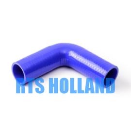 Siliconen bocht 90º graden ø 6,5mm blauw