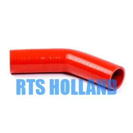 Siliconen bocht 45º graden ø 25mm rood