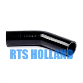 Siliconen bocht 45º graden ø 6,5mm zwart