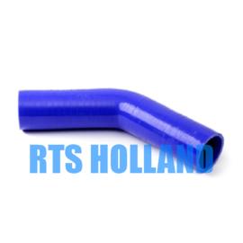 Siliconen bocht 45º graden ø 6,5mm blauw