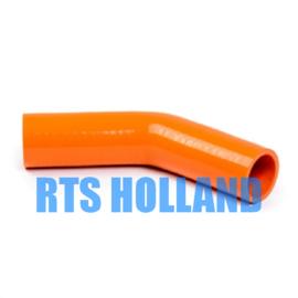 Siliconen bocht 45º graden ø 25mm oranje