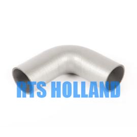 Siliconen bocht 90º graden ø 25mm zilver