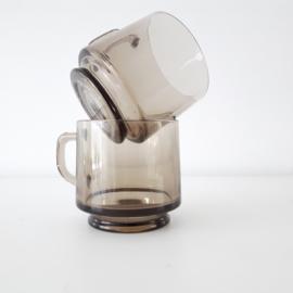 vintage rookglas bekertje - per 2