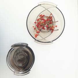 Vintage serveerschaal met bordjes - Glas- 6 delig