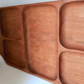 houten schaal - 5 vaks - vintage