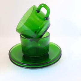 kop & schotel - groen glas - vintage - set van 2