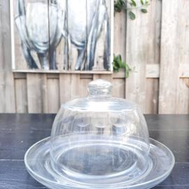 vintage glazen stolp met onderbord