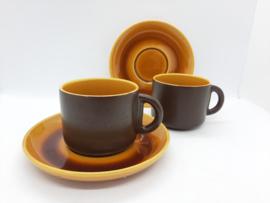 vintage kop & schotel - Driehoek Huizen - set van 2