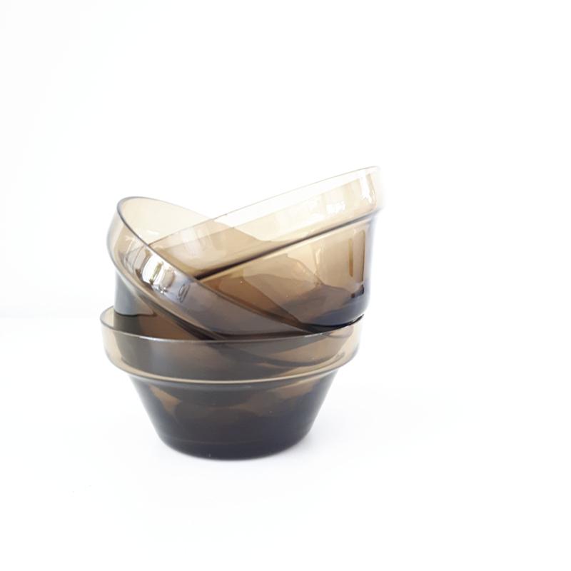 dessertkommetje - vintage -rookglas -per 3