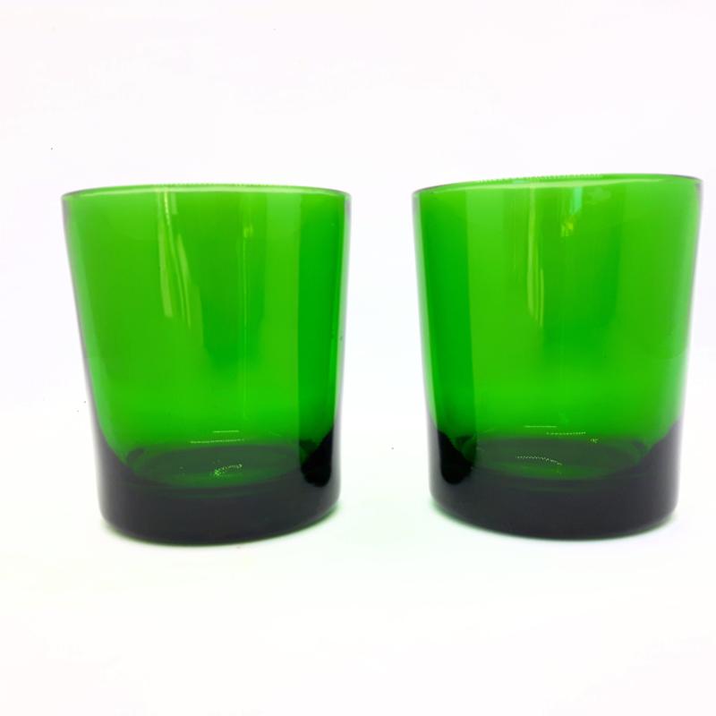 waterglas - groen - vintage - set van 2