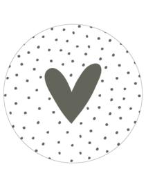 Zoedt muurcirkel hart - olijfgroen