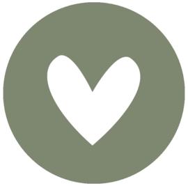 Label-R muurcirkel hart - olijfgroen/wit